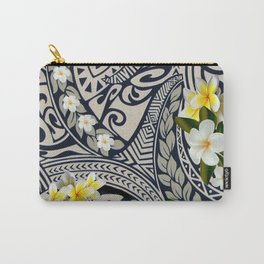 Traditional Hawaiian Tapa and Plumeria Carry-All Pouch