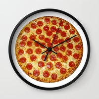 pizza Wall Clocks featuring Pizza by I Love Decor