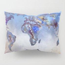 Stars world map. Blue dreams Pillow Sham