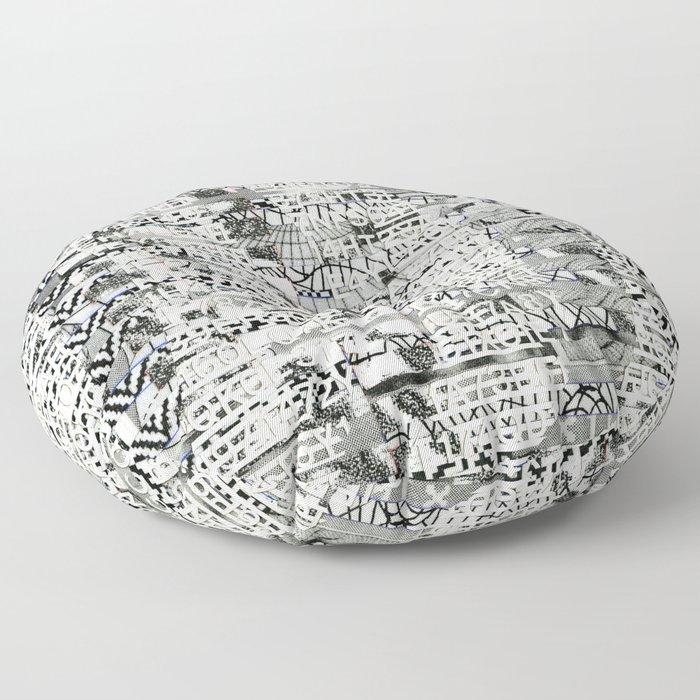 The Eternal Return of the Unique Event (P/D3 Glitch Collage Studies) Floor Pillow