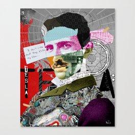 Nikola Portrait Collage Art Canvas Print