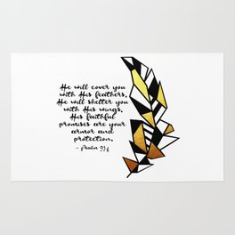 Gold Feather & Psalm 91:4 Rug
