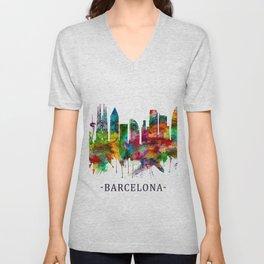 Barcelona Spain Skyline Unisex V-Neck