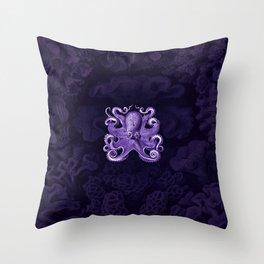 Octopus1 (Purple, Square) Throw Pillow
