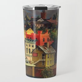 New England Town on the Two Rivers with Bridge landscape painting by Peter Blume Travel Mug