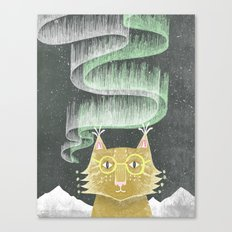 Lynx in Northern Lights Canvas Print