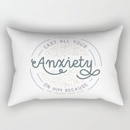 """Cast All Your Anxiety on Him"" Bible Verse Print Rectangular Pillow"