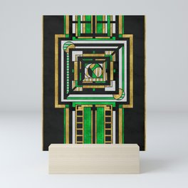 Tapestry: Emerald & Gold - Art Deco Drawing Mini Art Print