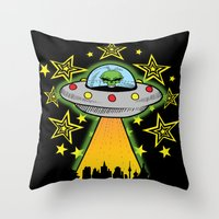 outer space Throw Pillows featuring OUTER SPACE by Amber's Realm