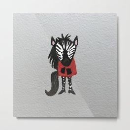 Zebra Jungle Friends Baby Animal Water Color Metal Print