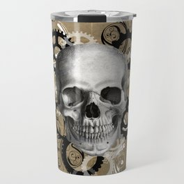 Skull With Gears and Floral Ornaments Travel Mug