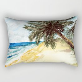 Beach with Palm Trees Rectangular Pillow