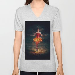 Bewitched Pretty Ballet Dancer Fiery Red Dress Dreamland UHD Unisex V-Neck
