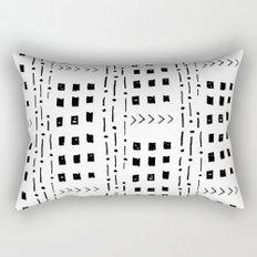 mudcloth 16 minimal textured black and white pattern home decor minimalist beach Rectangular Pillow