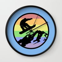 snowboarding Wall Clocks featuring snowboarding 2 by Paul Simms