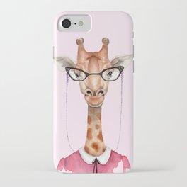 G is for a Giraffe in Glasses   Watercolor Giraffe iPhone Case