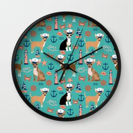 Chihuahua nautical sailor dog pet portraits dog costumes dog breed pattern custom gifts Wall Clock