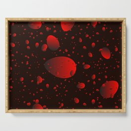 Large red drops and petals on a dark background in nacre. Serving Tray