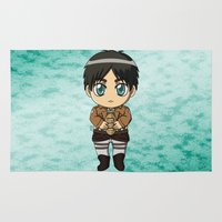snk Area & Throw Rugs featuring Shingeki no Kyojin - Chibi Eren by Tenki Incorporated