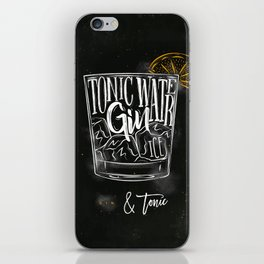 Gin tonic cocktail chalk color iPhone Skin