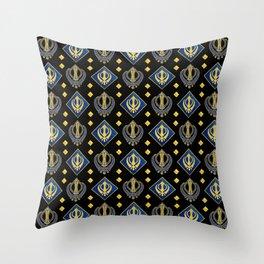 Gold and Lapis Lazuli Khanda symbol pattern Throw Pillow