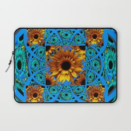 AWESOME BLUE & GOLD SUNFLOWERS  PATTERN ART Laptop Sleeve