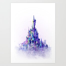 Disneyland Paris Watercolour Castle Art Print