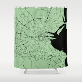 Dublin Ireland Green on Black Street Map Shower Curtain