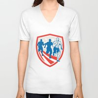 crossfit V-neck T-shirts featuring American Crossfit Runners USA Flag Retro  by patrimonio