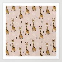 Arrows and baby giraffe illustration pattern Art Print
