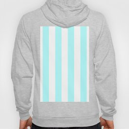 Vertical Stripes - White and Celeste Cyan Hoody