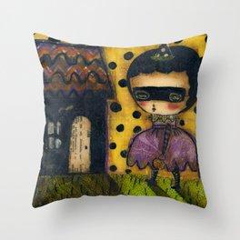 The Spooky Halloween House Throw Pillow