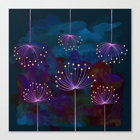 luminous dandelions on petrol blue Canvas Print