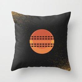 Minimal Retro Cricket Ball Throw Pillow