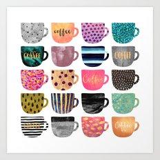 Pretty Coffee Cups Art Print