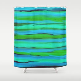 Apple Green, Seafoam, and Azure Blue Stripes Abstract Shower Curtain