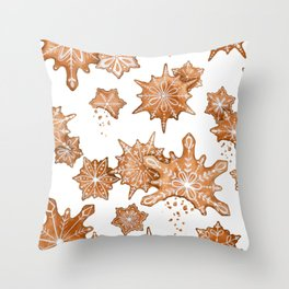 Gingerbread Cookie Blizzard Throw Pillow