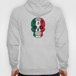 Sugar Skull with Roses and Flag of Mexico Hoody