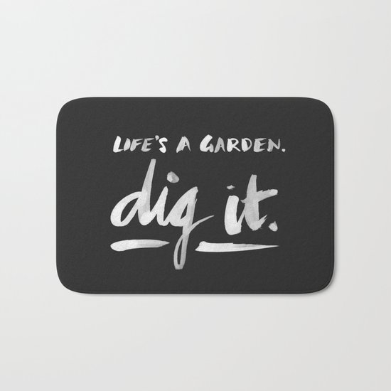 Dig It – White on Black Bath Mat