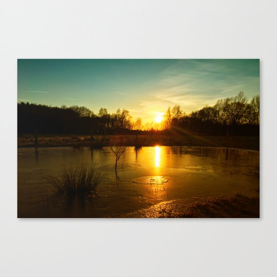 Winterlandscape with sunset Canvas Print