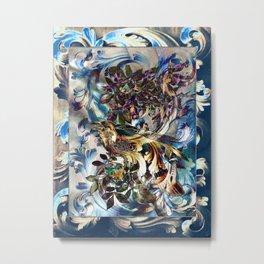 Acanthus Crow Brown On Blue Metal Print