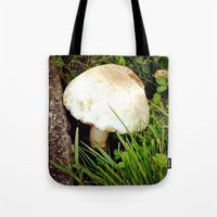 portlandia Tote Bags featuring Fairy Toad Stool by Beth Ann Short