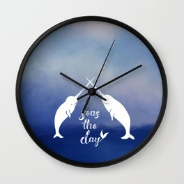 Narwhal Seas the Day Wall Clock