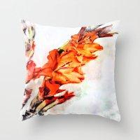 artsy Throw Pillows featuring gladioli Artsy by Artsy Arts By Rosanna.