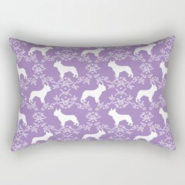 French Bulldog floral minimal purple and white pet silhouette frenchie pattern Rectangular Pillow