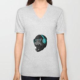 Black Gorilla Ape Monkey Mascot Gaming Sport Esport Logo Template With Earphone Unisex V-Neck