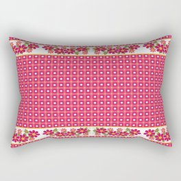 Crimson floral pattern . Rectangular Pillow
