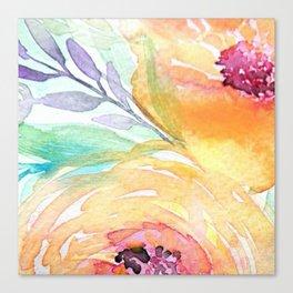 Yellow Roses Watercolor Canvas Print