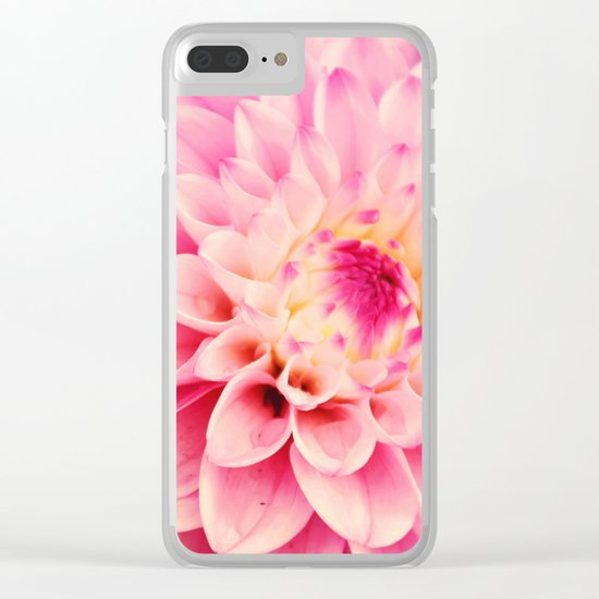 Sweet Pink Dahlia Clear iPhone Case