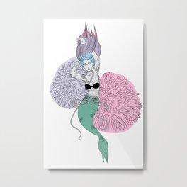 Tattooed Mermaid Metal Print